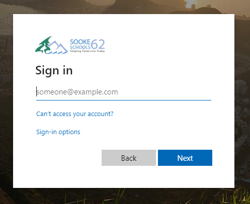Office 365 Login Prompt Picture
