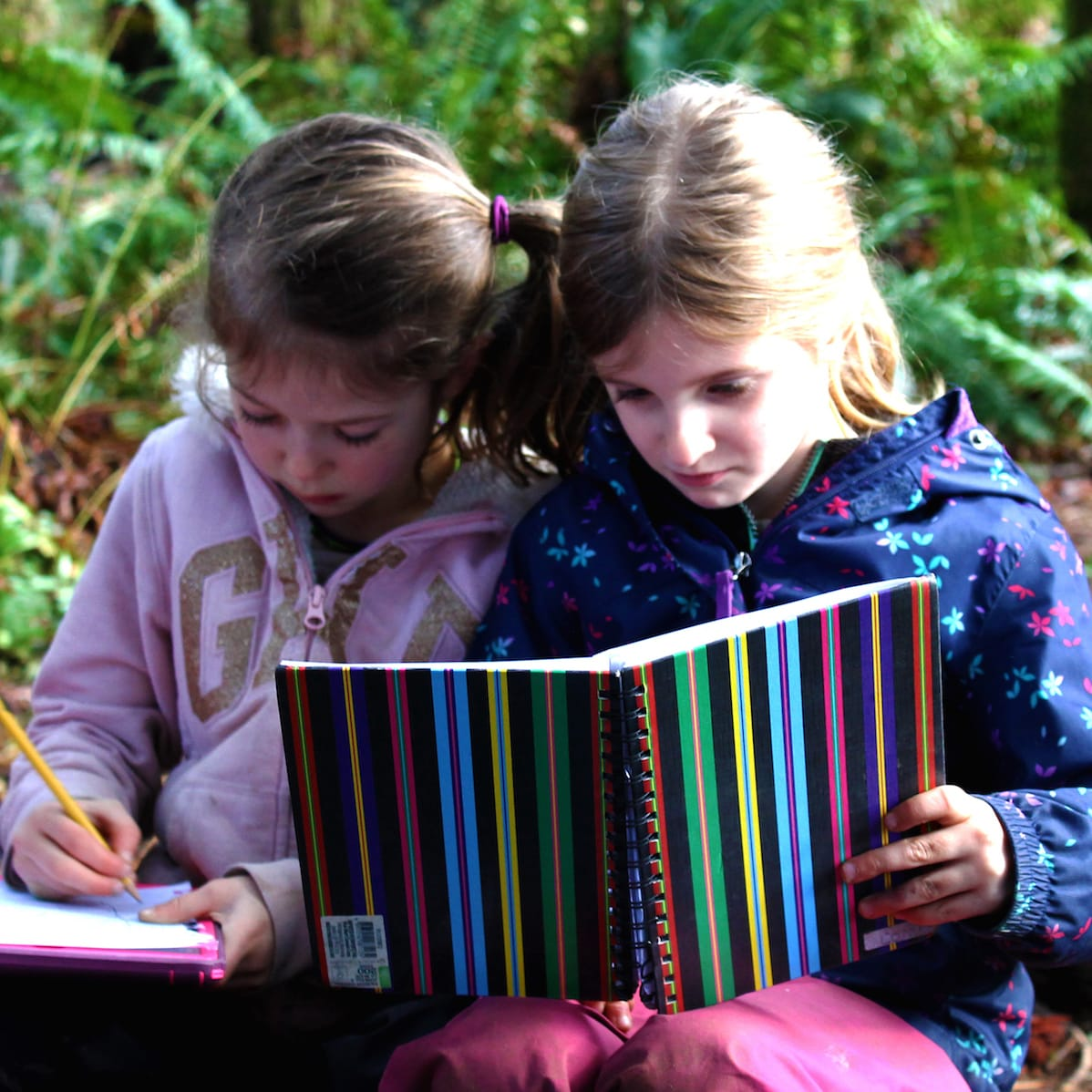 two kindergarten students reading a book in the forest