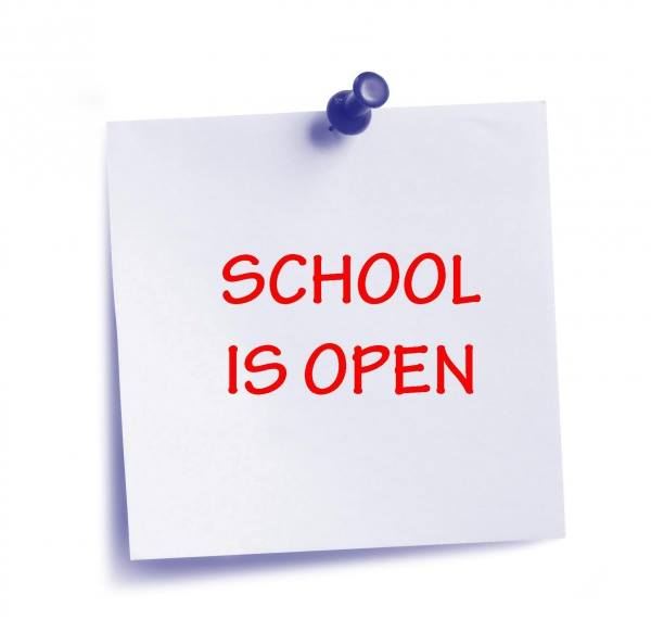 school is open sign